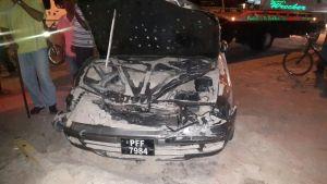 The burnt car. (INews Photo)