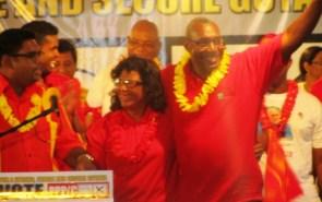 Prime Ministerial Candidate, PPP/C Elisabeth Harper & her Husband Roger Harper (iNews' photo)