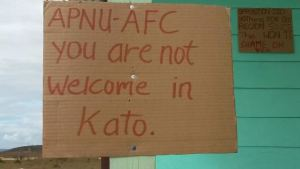 One of the placards mounted in an Amerindian Village