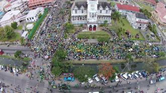 An aerial shot of APNU/AFC Supporters at City Hall.