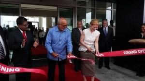 President Donald Ramotar and Marriott hotel officials cuts ribbon