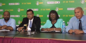 Second from left: Dr Surendra Persaud, Dr Karen Cummings and Dr George Norton during the press conference.