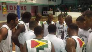 Flashback: The Guyana National Squad during a timeout against Bermuda at the Cliff Anderson Sports Hall.