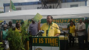 APNU+AFC Prime Ministerial Candidate, Moses Nagamootoo during launching of their manifesto