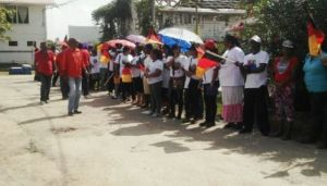 Supporters lined up outside the Whim Magistrate's Court. [iNews' Photo]
