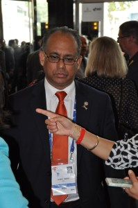 Assistant Secretary General, Ambassador Albert Ramdin during an interview with the Guyanese media in Panama City just before the VII Summit of the Americas. [Neil Marks' Photo]