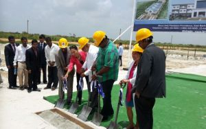 President Donald Ramotar and other officials at the sod turning ceremony. [iNews' Photo]