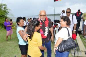 President Ramotar during his visit to the Amerindian Villages on the Corentyne River.