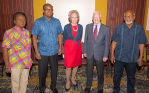 Former US President, Jimmy Carter and some members of his delegation meet with PPP/C  Presidential Candidate, Donald Ramotar and former President, Bharrat Jagdeo