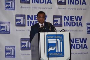 New India Assurance Company Ltd's Managing Director, Jyoti Kumar Garg addressing the gathering at the company's inauguration ceremony.