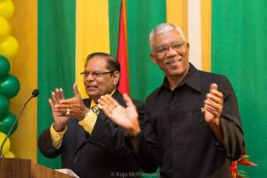 President and Prime Minister elect, David Granger (right) and Moses Nagamootoo.