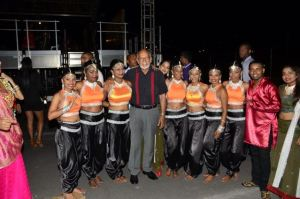 President Donald Ramotar with some of the performers at the IAC Mela