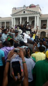 President David Granger flocked by supporters shortly after being sworn in. [iNews' Photo]