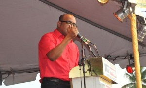 Former President Bharrat Jagdeo during his address to the PPP supporters at Lusignan.