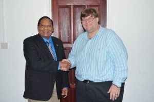Prime Minister, Moses Nagamootoo and United States Embassy Charge´ d´ affaires, Bryan Hunt