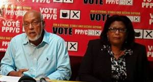 Presidential and Prime Ministerial Candidates of the PPP/C, Donald Ramotar and Elisabeth Harper