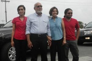 Incumbent President Donald Ramotar, his wife and children. [iNews' Photo]