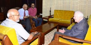 President Donald Ramotar, former US President Jimmy Carter, Minister of Natural Resources and the Environment Minister, Robert Persaud and Agriculture Minister Dr. Leslie Ramsammy during the meeting. [Sandra Prince Photo]