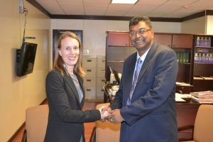 Mr Ramjattan greeting  outgoing Canadian High Commissioner to Guyana, Dr. Nicole Giles,