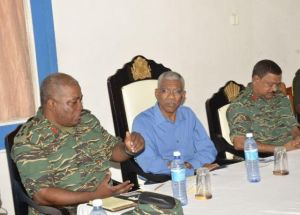 President David Granger during an interactive session, with Army Chief of Staff, Brigadier Mark Phillips and Deputy Chief of Staff, Khemraj Persaud