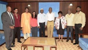 President David Granger and Minister of Governance Raphael Trotman along with members of the Indian Arrival Committee during a meeting on June 18, 2015