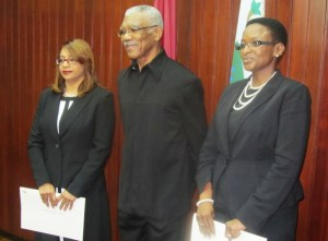 President David Granger with the new female judges. [iNews' Photo]
