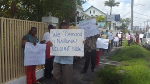 General Secretary, Clement Rohee during the protest. [iNews' Photo]