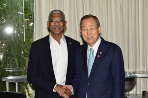 President David Granger (left) and Secretary General of the United Nations, His Excellency Ban Ki Moon