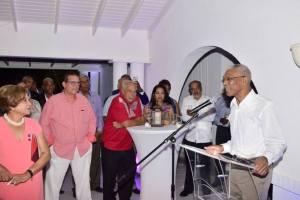 President David Granger addresses a gathering held in his honour in Barbados.