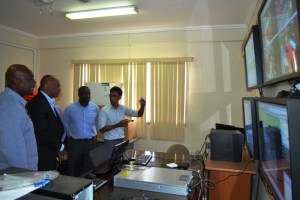 Minister Harmon during a tour of the Office