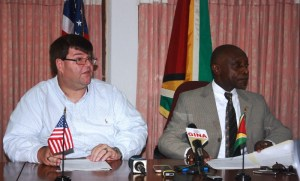 US Charge d' Affaires, Bryan Hunt and Minister of Foreign Affairs, Carl Greenidge