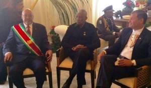 President Granger (center) and President of Suriname, Desi Bouterse (left).