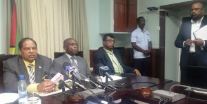 Acting President, Moses Nagamootoo, Vice Presidents CarlGreenidge and Khemraj Ramjattan. [iNews' Photo]