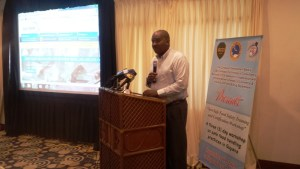 Lance Hinds delivering his remarks at the opening of the workshop. [iNews' Photo]