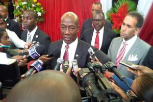 Prime Minister of Trinidad and Tobago, Dr Keith Rowley speaking to the media.
