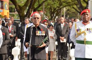 President Granger delivering his message during  Remembrance Day 2015 observances.