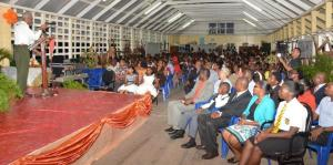 President David Granger as he addressed the large gathering at the Ann's Grove Secondary School, who came out to celebrate with Elisa Hamilton on her achievement at CAPE and CSEC.