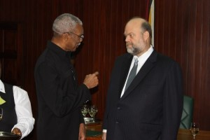 President David Granger and US Ambassador Perry Holloway