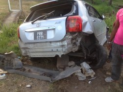 One of the cars which was parked on the road. [iNews' Photo]