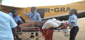 One of the injured persons at the Ogle Airport. [Guyana Chronicle Photo]