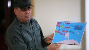 Gen Padrino showed a map of the route the alleged US spy plane took