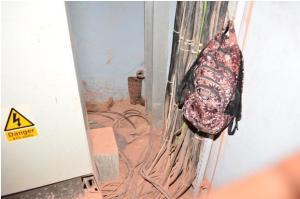 Exposed wires at the Kurubuka mining site.