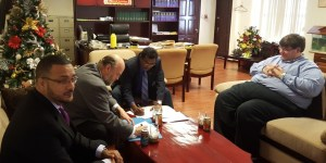 Minister Ramjattan and US Ambassador, Perry Halloway sign the MoU.