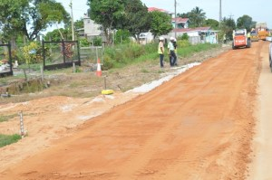 Road widening at Hydronie, East Bank Essequibo, Region Three