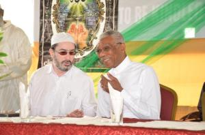 President David Granger shares a light moment with CIOG Head, Sheikh Moen ul-Hack.
