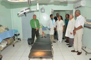 Dr. Michael Pereira, GMO, Medical Superintendent, Obstetrics/Gynaecologist (second from left) takes President David Granger and his team on a guided tour of the main operating theatre at Diamond Diagnostic Centre