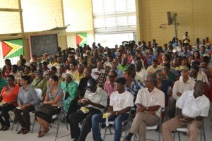 A section of the gathering at the Meeting at the Anna Regina Multilateral School.