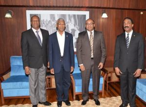 L-R: Minister of State, Joseph Harmon; President David Granger; Opposition Leader, Bharrat Jagdeo and Attorney General, Basil Williams prior to the consultations.