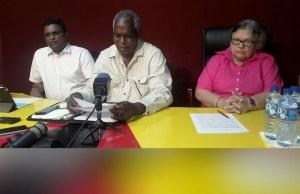 PPP GECOM Commissioners L-R: Sase Gunraj, Robeson Benn and Bibi Shadick. [iNews' Photo]