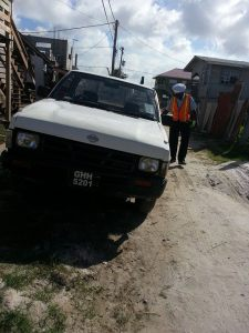 The vehicle involved in the accident.